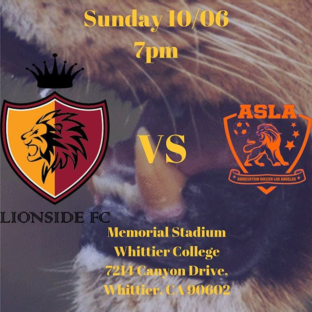 Game Day this Sunday 10/06 @7pm we can't wait @aslosangelesfc we are invigorated and confident in our preparations🦁🙌🏻 we also hunt the best at night 🦁🔥🔥🔥🔥🔥 @upslsoccer 7pm this Sunday the Jungle comes to Whittier College ✊🏻