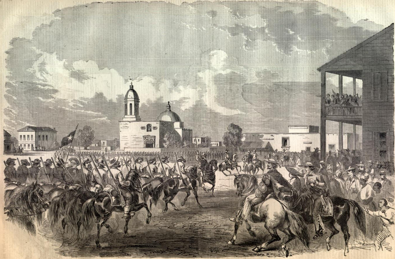 """Surrender of ex-General Twiggs, late of the United States Army, to the Texan troops in the Gran Plaza, San Antonio, Texas, February 16, 1861."""