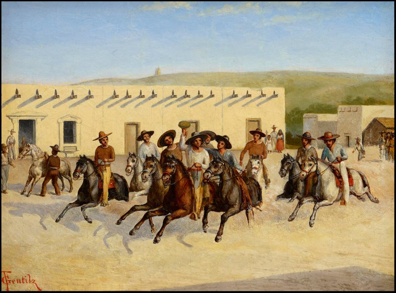 """""""Corrida de la Sandía"""" aka """"Día de San Juan"""" by Theodore Gentilz, 1848"""