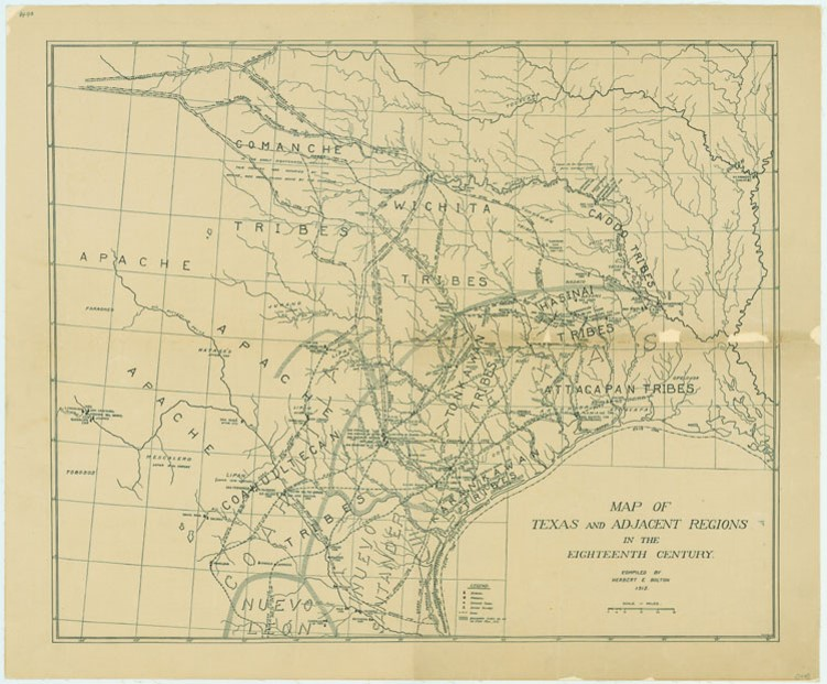 """Map of Texas and Adjacent Regions in the Eighteenth Century"""