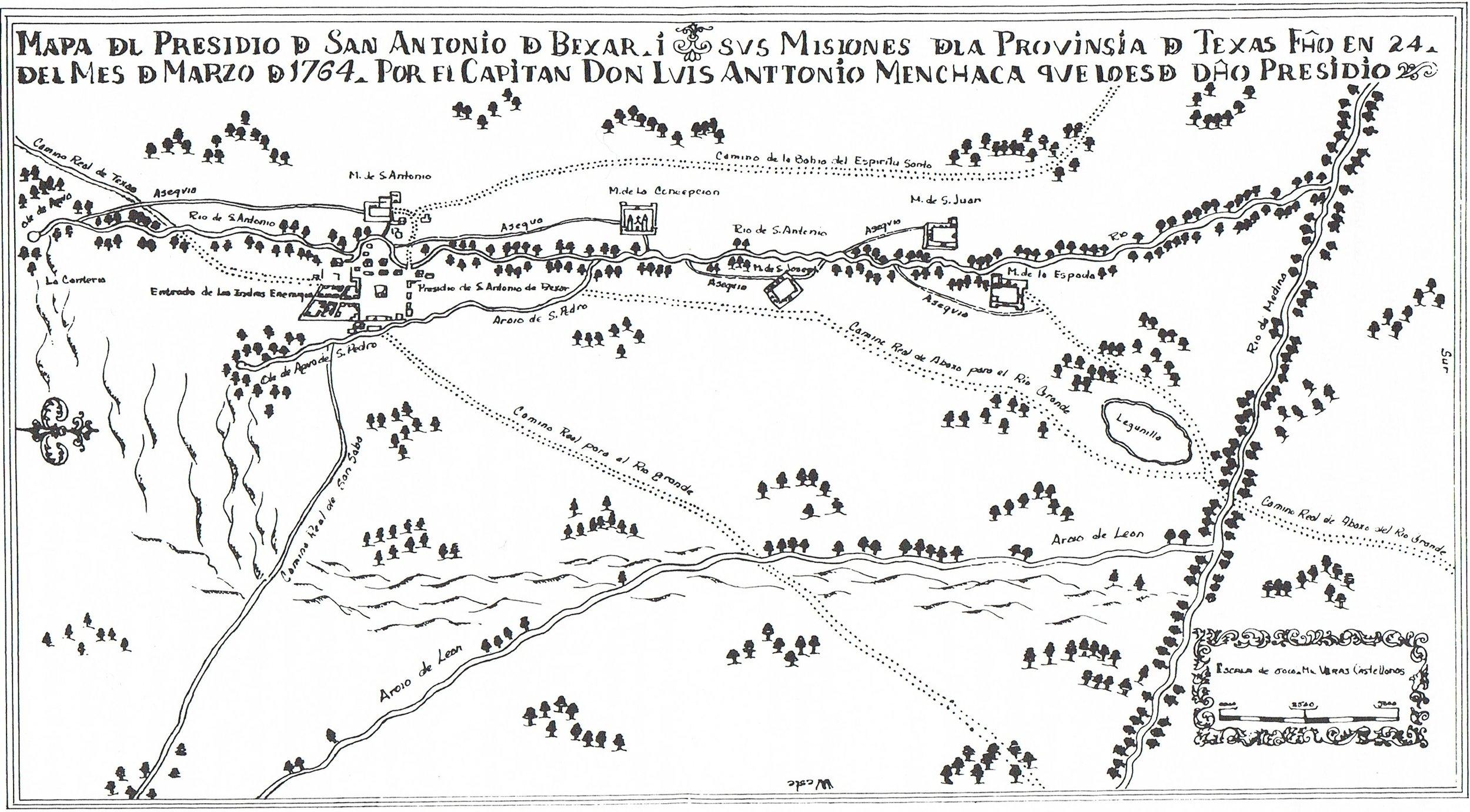Luis Antonio Menchaca's Map del Presidio de San Antonio de Béxar, 1764