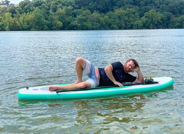 We are hosting several corporate outings this summer! Come up for a team building float with your sales team or staff and then book a meeting room at the nearby @cohatchcommunity Newsstand location in Delaware. We can accommodate groups up to 12 at once, and each corporate package includes a post float paddleboard massage and sing along from our friend Geoff (pictured.) He doesn't know about this part yet, but he will totally be down for it 🤣