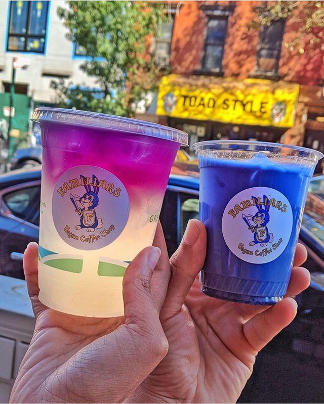 Garden Palmer & iced blue milk latte 🦄🦋 by @nevernotvegan