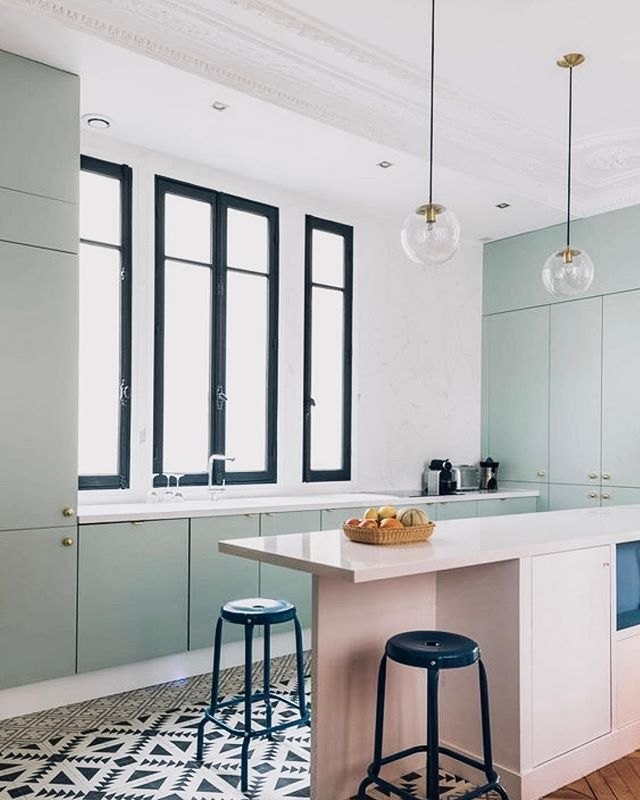 Nothing screams spring more than a pastel pallet for your kitchen!! We are loving these minty green and blush pink cabinets!! Mixed with the start geometric floor tile this space is absolute perfection!! . . . . #neutralhome #interiors123 #dailydecordetail #myserie7 #thenewbohemians #mydecorvibe #howyouhome #apartmenttherapy #oneroomchallenge #kismetcheckoutmyhouse #luxeathome #interiordesign #interiordecor #home #homestyle #homedesign #interiors #interiorstyling #homeinspo #homesohard #mycovetedhome #peepmyhome #pocketofmyhome #showmeyourstyled #howwedwell #makehomeyours #lovetohome #myhomevibe #mydomaine #currenthomeview