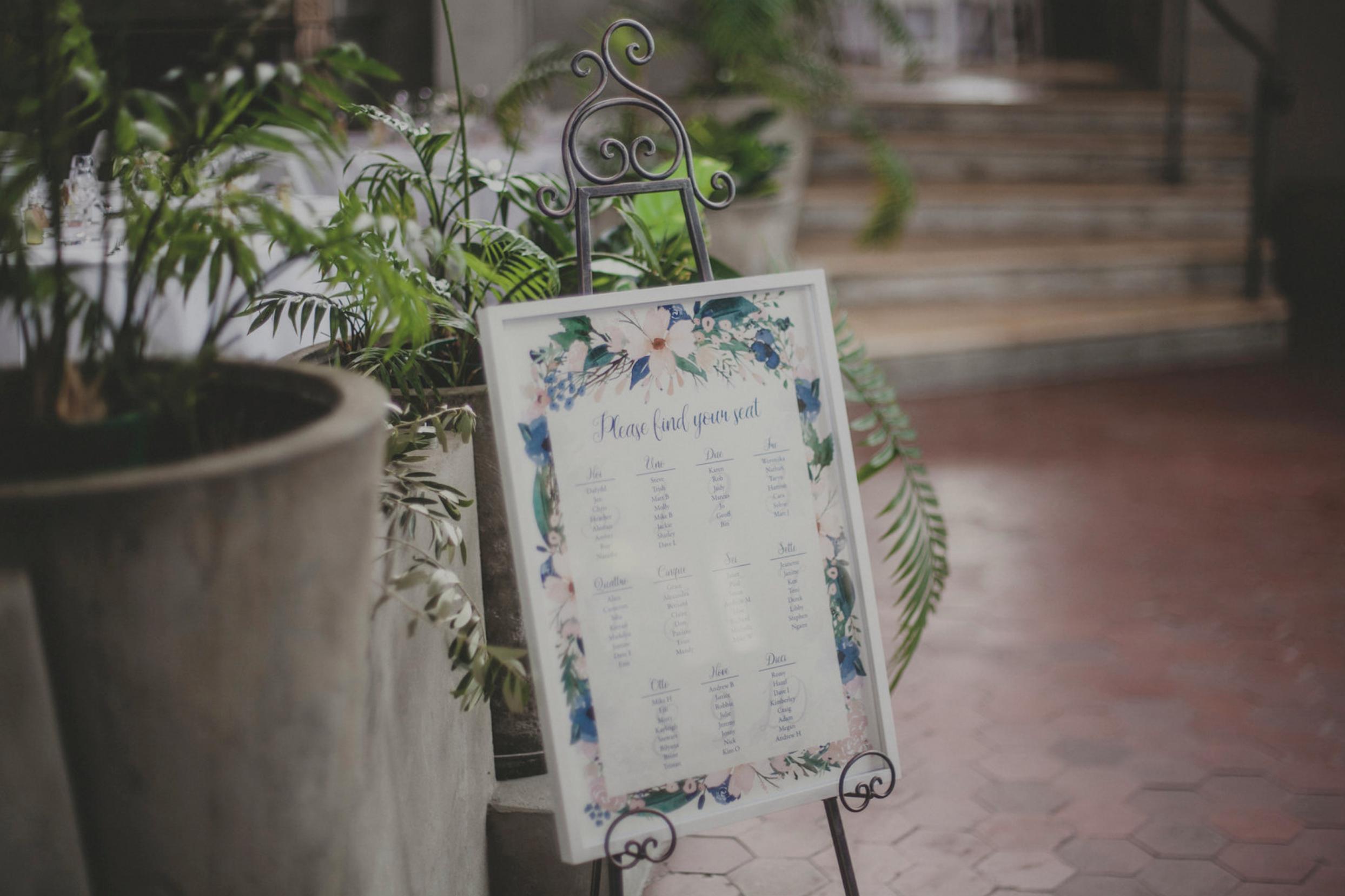 Wedding table seating plan