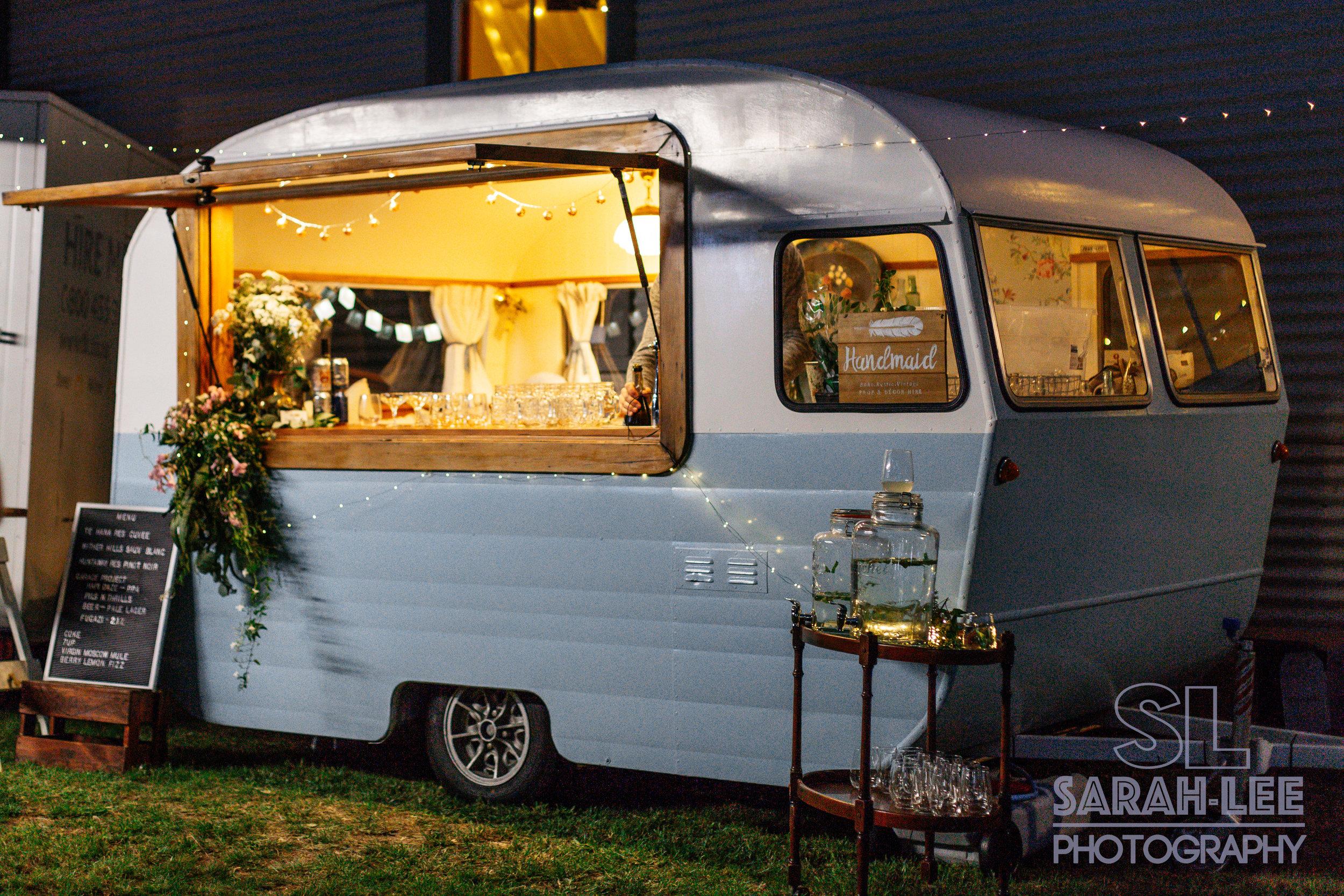 Sadie Swoon vintage caravan at night