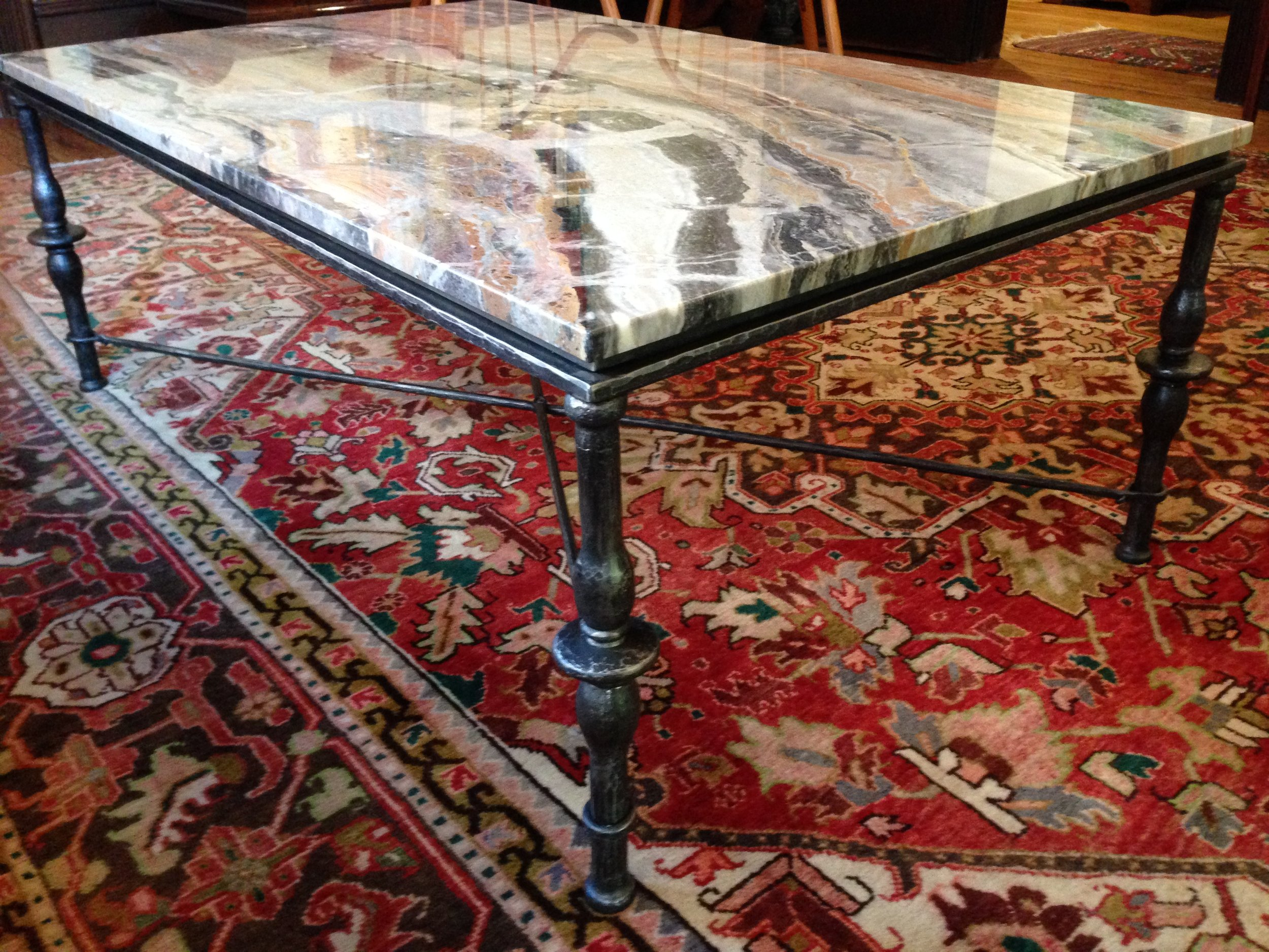 FORGED COFFEE TABLE WITH MARBLE TOP - private residence, Philadelphia PA