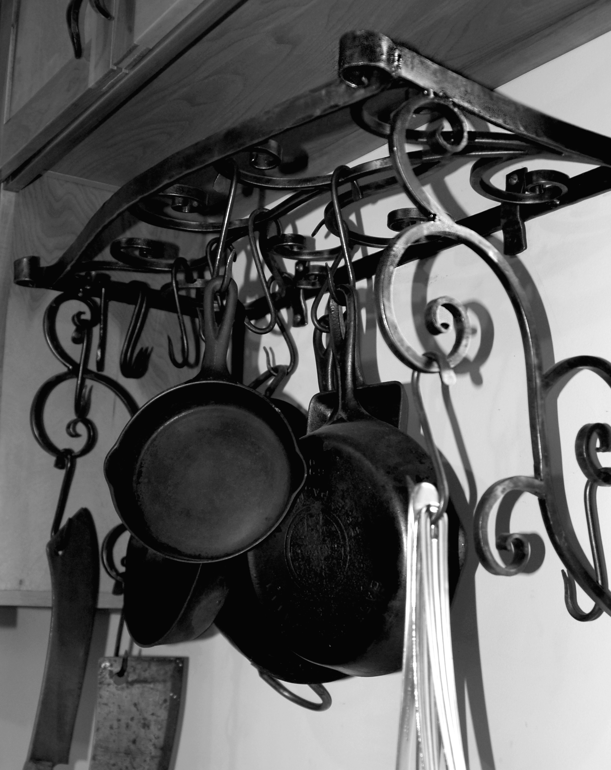 POT RACK - custom made to fit cabinets
