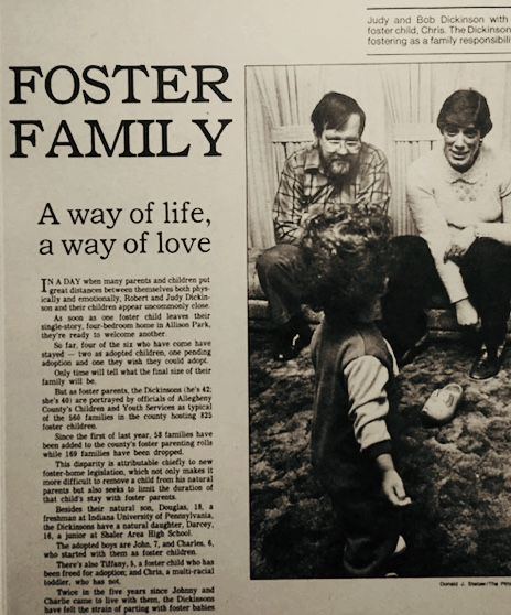 """A Second Chance - In 1983, the Pittsburgh Press featured Jerry's foster family. Roger Stuart wrote: """"As soon as one foster child leaves their single family, four-bedroom home in Allison Park, they're ready to welcome more…[o]nly time will tell what the size of their family will be…"""""""