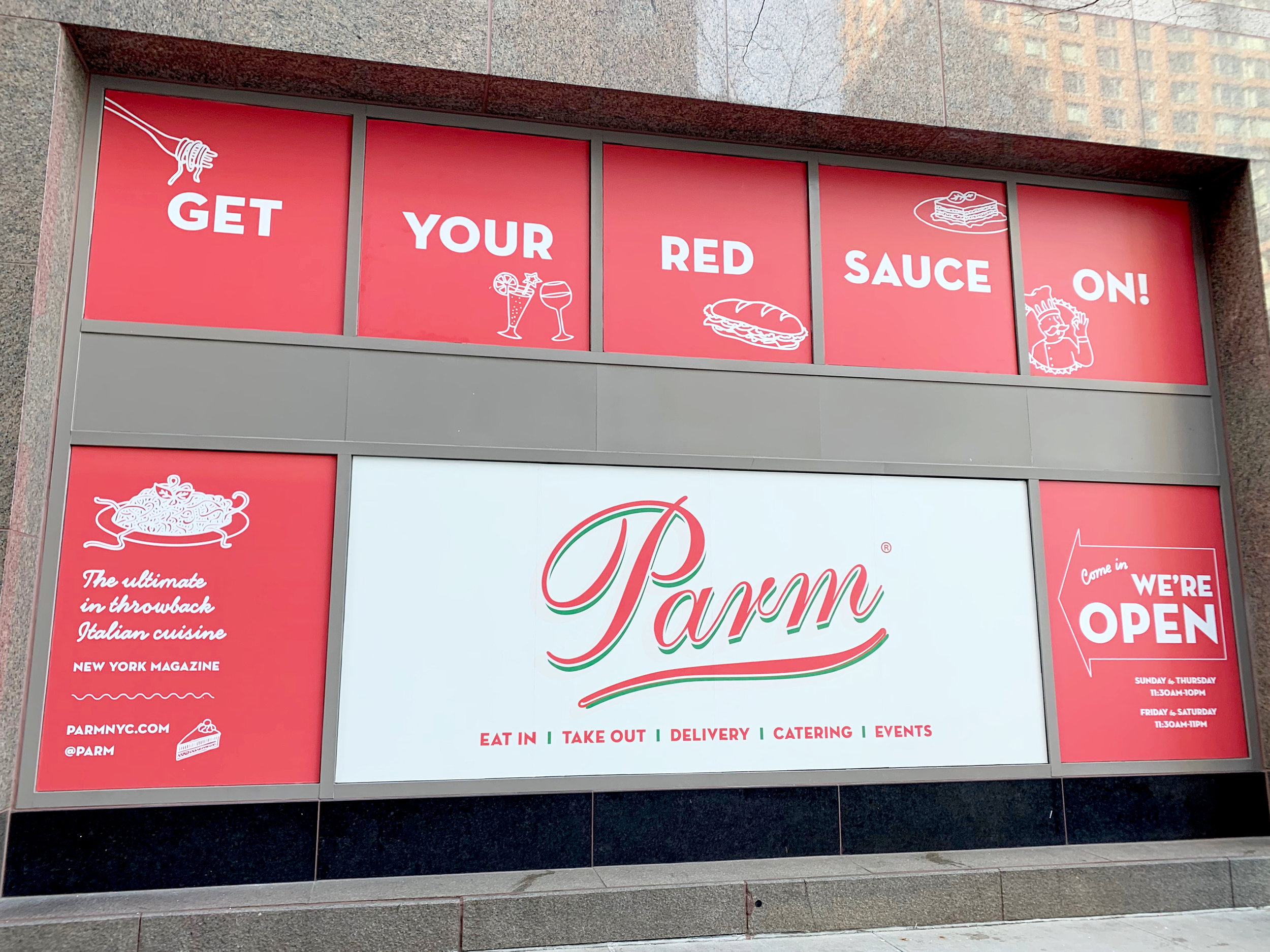 Window signage printed by Unique Print NY for Parm at 250 Vesey Street