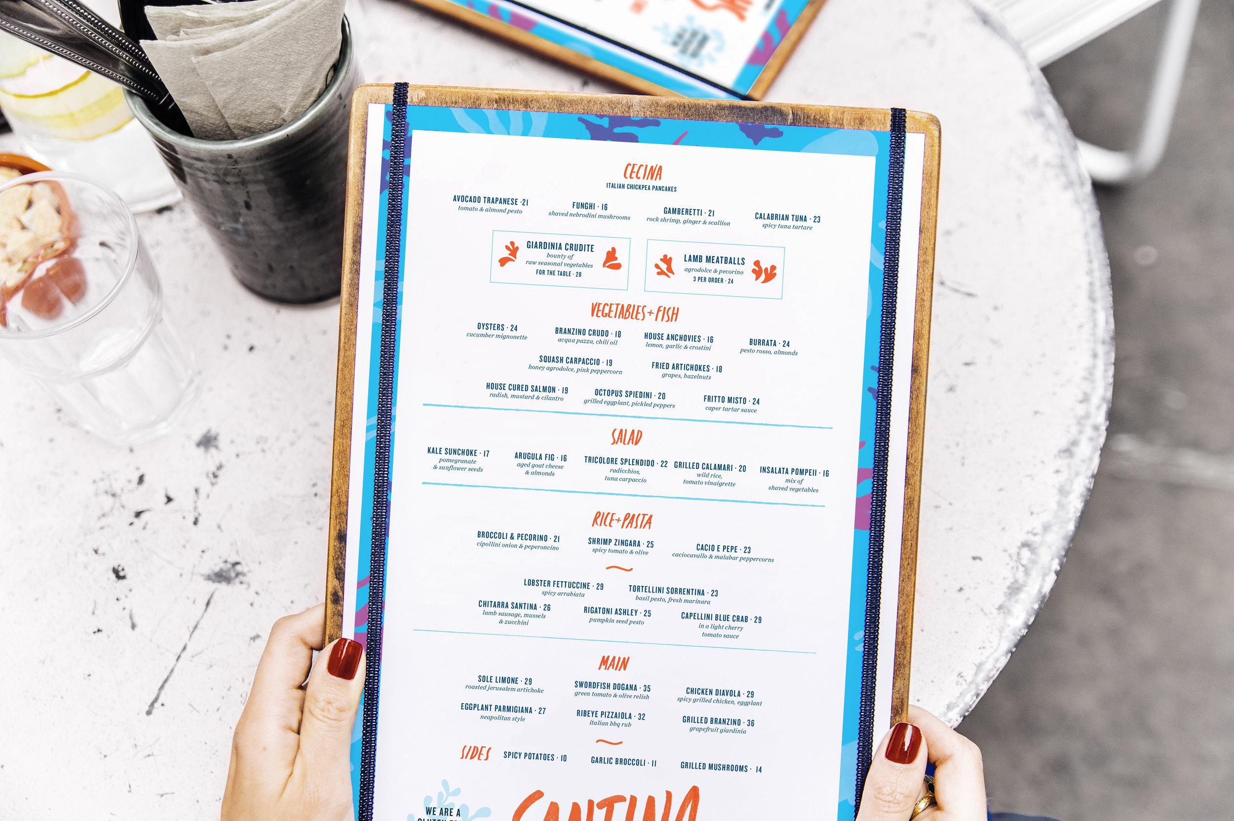 Mockup of menus printed for Santina