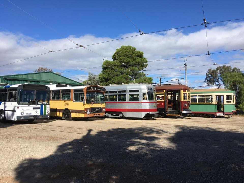 VOLvo b58 No. 1466 & Mercedes-Benz O305 No. 1540 in Adelaide Busway Stripes posing with a SELECTION of the MUSEUMS trams