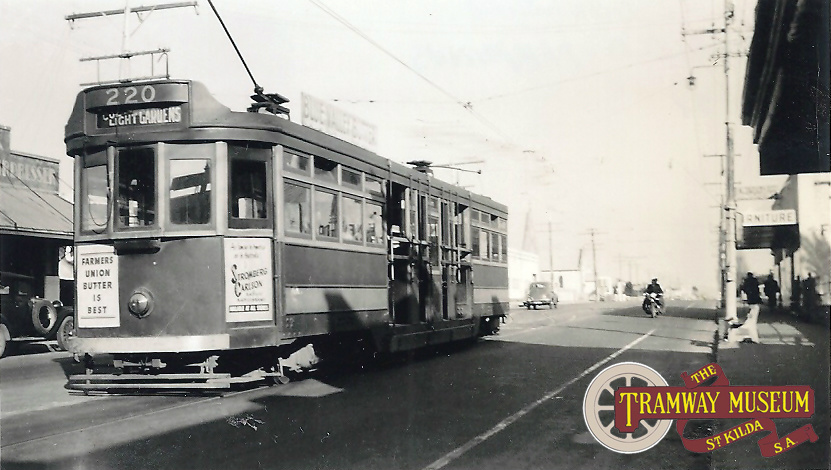 F type 'Drop Centre' tram 220 at the Enfield terminus at the intersection of Main North Road and Irish Harp Road (now Regency Road), looking towards the City, c.1951. Enfield trams ran through the City to Col Light Gardens.