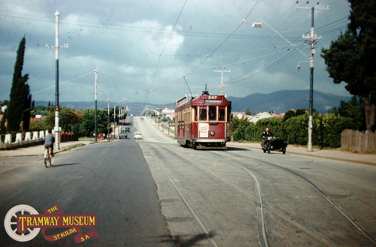 A feature of the line to Paradise was the long length of single track with a number of 'passing loops' to allow trams from opposite directions to pass each other. F type 'Drop Centre' tram 247 is seen traversing one of these loops on a service heading to the City and eventually Fullarton/Springfield. Photo: Keith Kings.