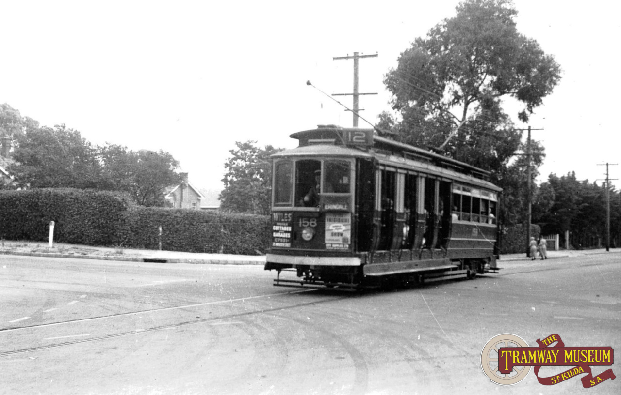 D type trams were the regular tram type in the south eastern suburbs. D 158 is on the short Erindale branch at the intersection of Kensington Road and Burnside Road, heading for the terminus in May 1952, just days before closure. Photo: Wal Jack.