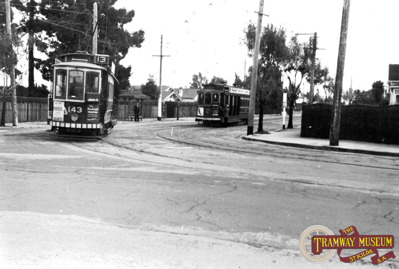 City bound D type tram 143 is about to pass tram 161 on a service to Linden Park, seen turning in to Stuart Road from Greenhill Road in 1951. Photo: Wal Jack.