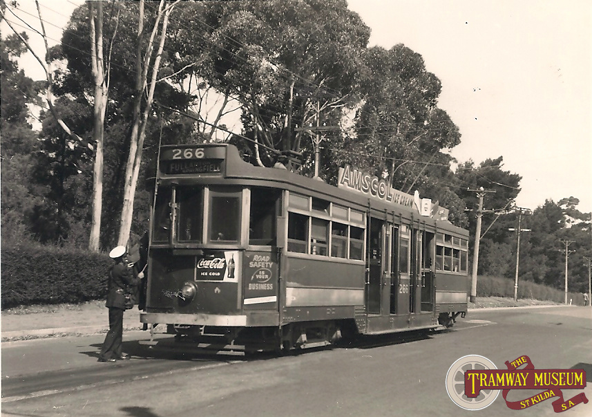 Seen in the leafy green surroundings of the Springfield terminus, the tram crew of 'Drop Centre' 266 can be seen preparing for the return journey to the City and eventually Paradise, c.1951.