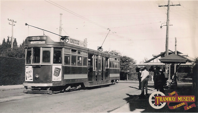 F type 'drop centre' tram 219 in Tuscan and Red at the Hyde Park terminus at the intersection of Whistler Avenue and Cross Road before running inbound to the City and eventually through to Walkerville North, July 1951.
