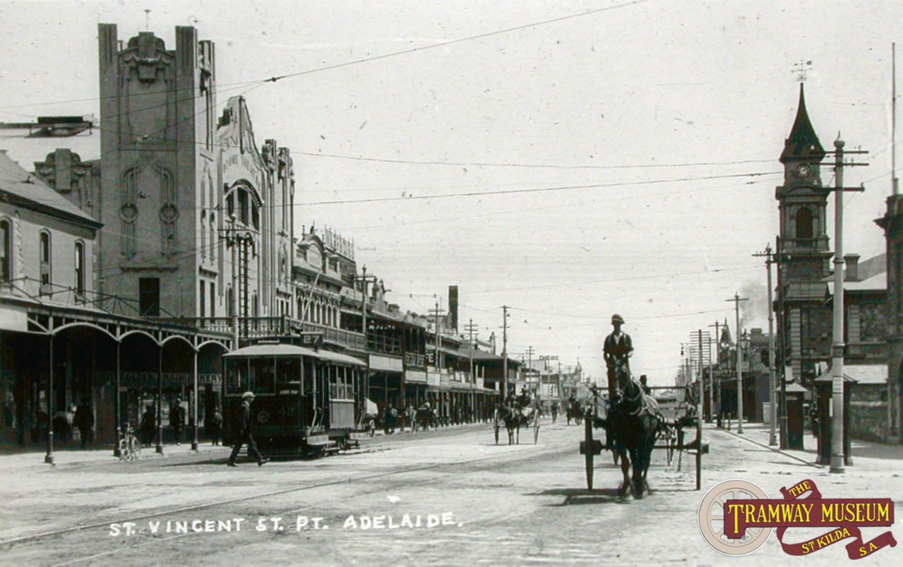 Taken in the early 1920s, A2 type tram 42 (converted from a B type 'Toast Rack' tram) is seen heading along St Vincent Street in the heart of Port Adelaide before turning in to Commercial Road on a service running to Albert Park.