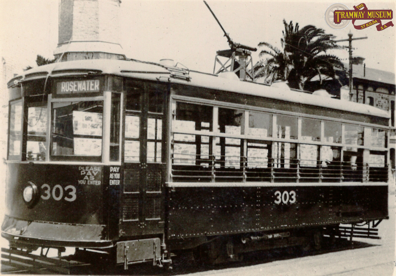 G type 'Birney' tram 303 is seen at the Semaphore terminus ready for a run to Rosewater. Photo: MTT.