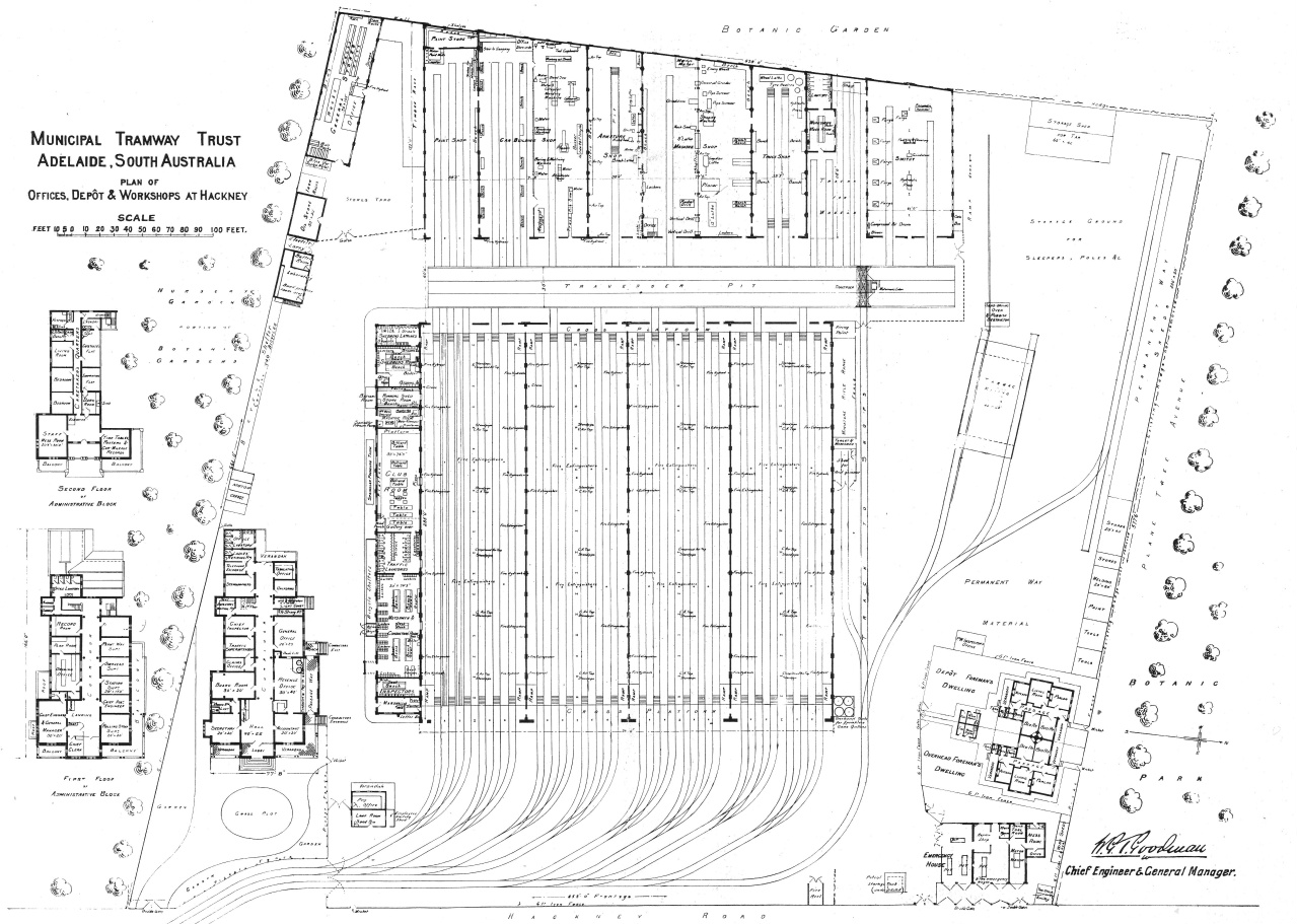 In 1919, the 'Tramway and Railway World' (an industry magazine of the time) had a feature about the Adelaide tramway system and it included this diagram showing the layout of the extensive facilities at Hackney depot. In the years to come, additional tracks would be laid on the southern side of the site (known as the Southern Annex) while the northern end of the site would cater for the expanding trolley bus system. Photo: AETM archives.