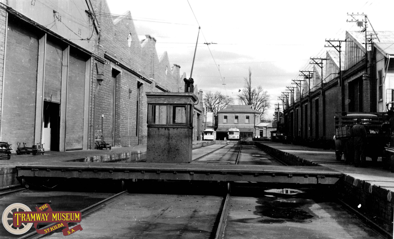 Behind the running sheds at Hackney was a traverser which allowed trams to be moved across the site accessing the various workshop buildings. While not its' intended purpose, the traverser pit was often used by the Tramways staff for games of cricket! Photo: MTT.