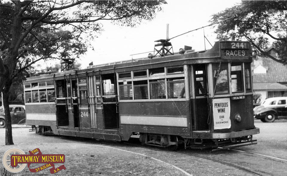 F type 'Drop Centre' tram 244 is seen in 1952 entering the 'balloon loop' that served Victoria Park racecourse.