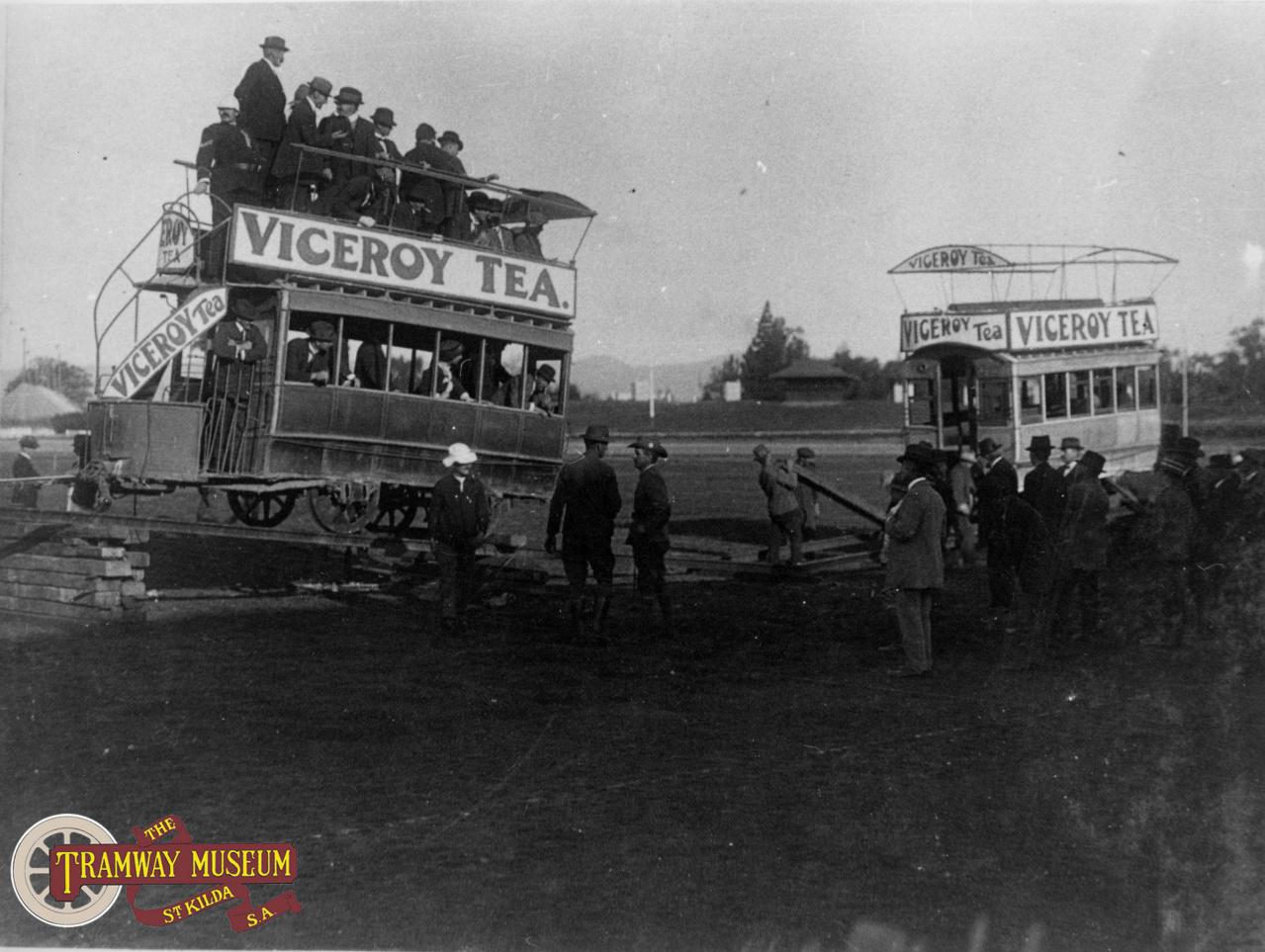 A fundraising event was held at Adelaide Oval during the First World War to help look after the soldiers who had gone to the front. One of the main acts was the staged collision of two redundant horse trams on the oval before setting them on fire.