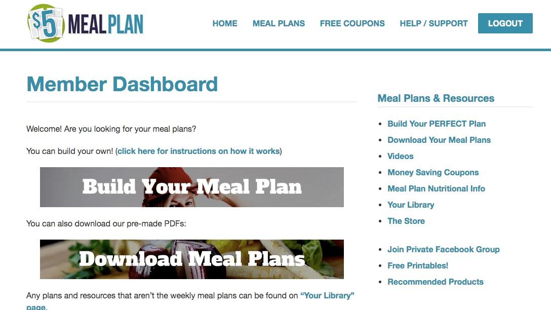 $5 Meal Plan Screenshot