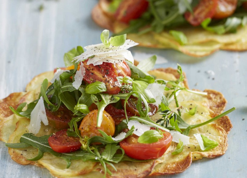 Roasted Potato Rosti with Herbed Roma Tomatoes -