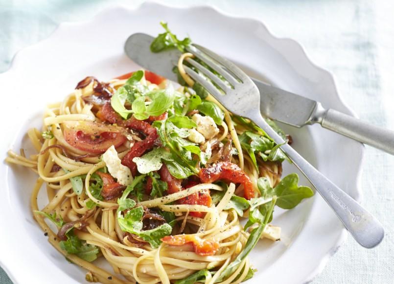 Caramelised Onion, Feta and Capsicum Pasta -