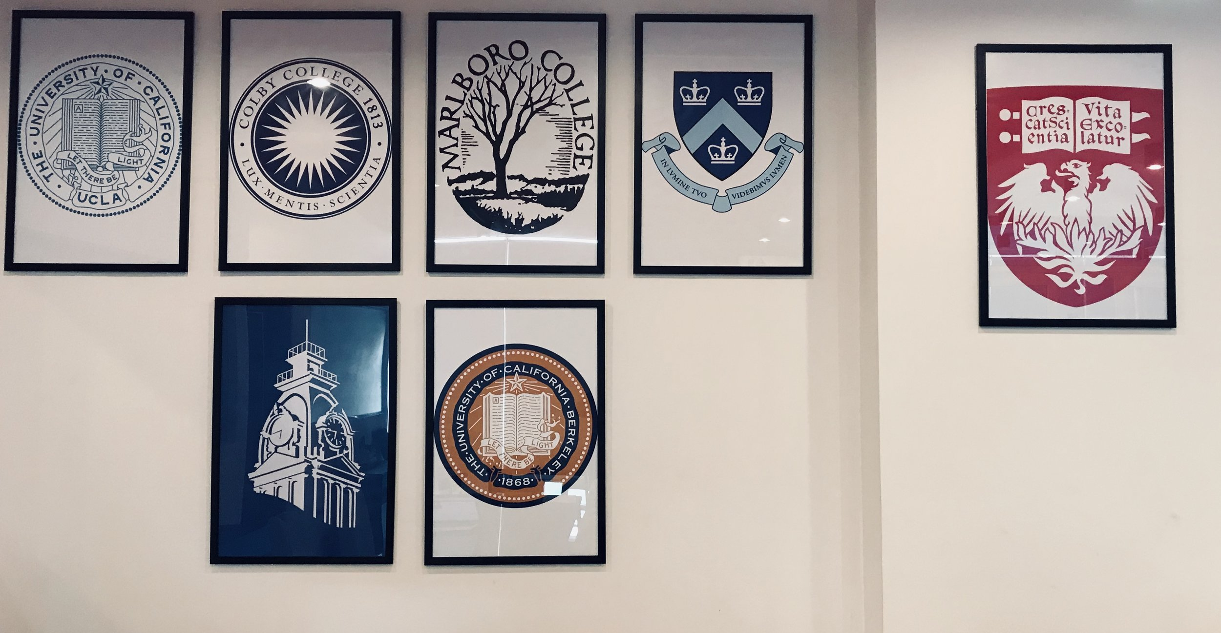 "The ""shields and seals"" wall representing the almae matres of    our fellows"