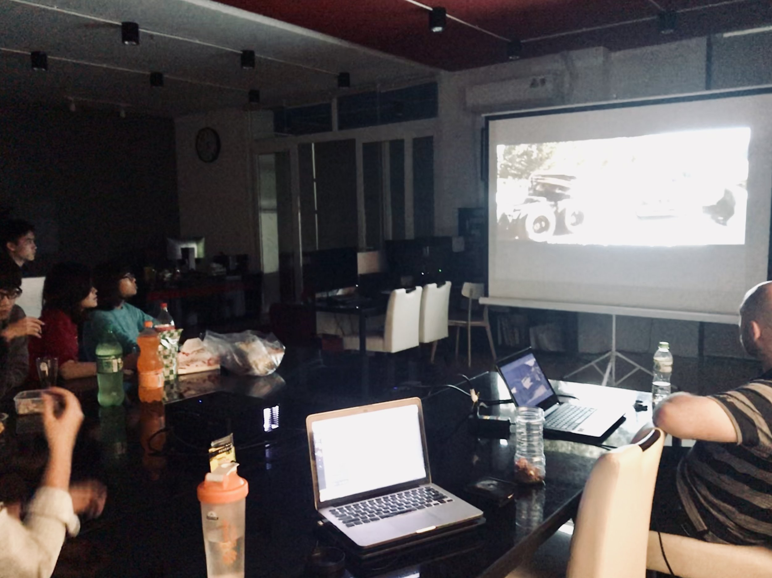 Watching  Zombieland  (2009) with students and fellows for Bedrock movie night