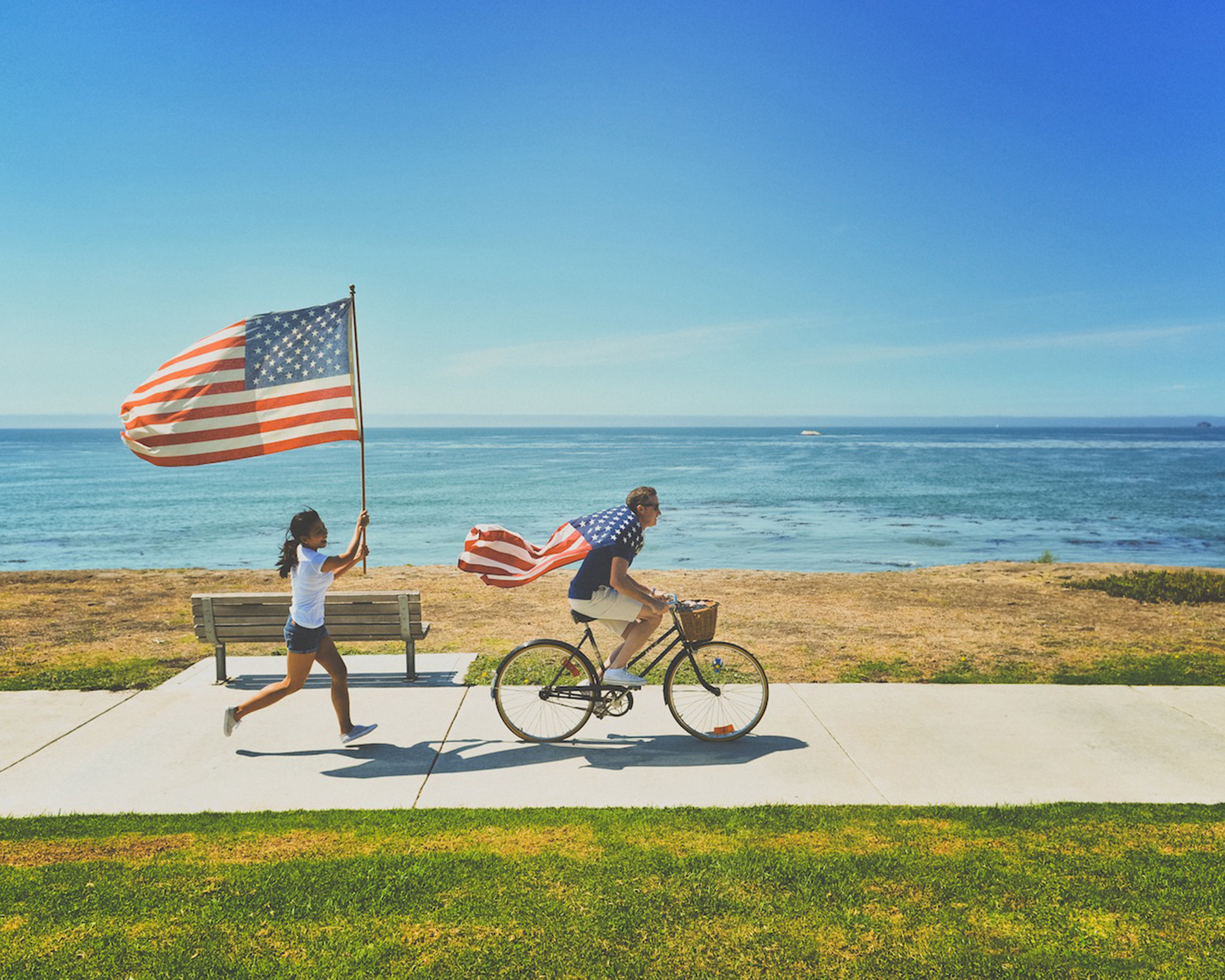 A brief moment of patriotism by the beach