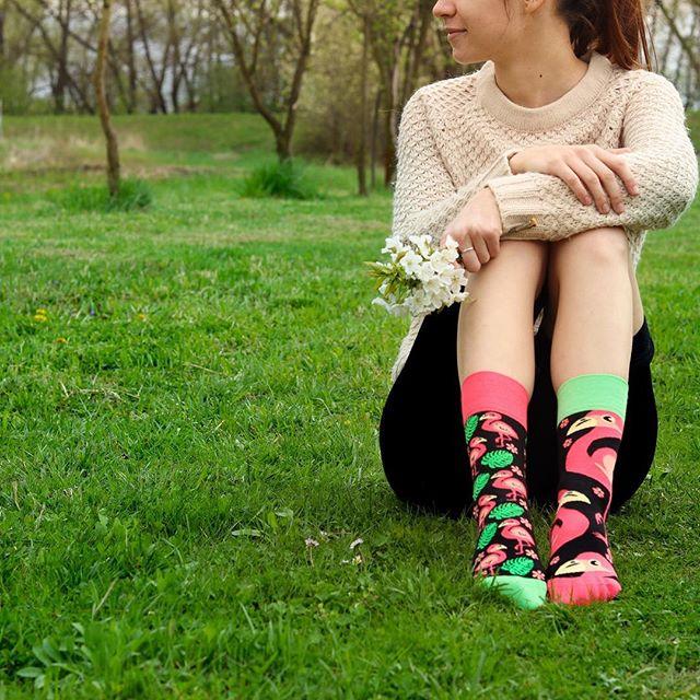 """""""Časom som totiž pochopil, že sa môžem kochať krásami prírody, i keď stojím nohami pevne na zemi."""" #budplameniak #dnesnosim #plameniak #veseleponozky #jar #priroda #dedoles"""