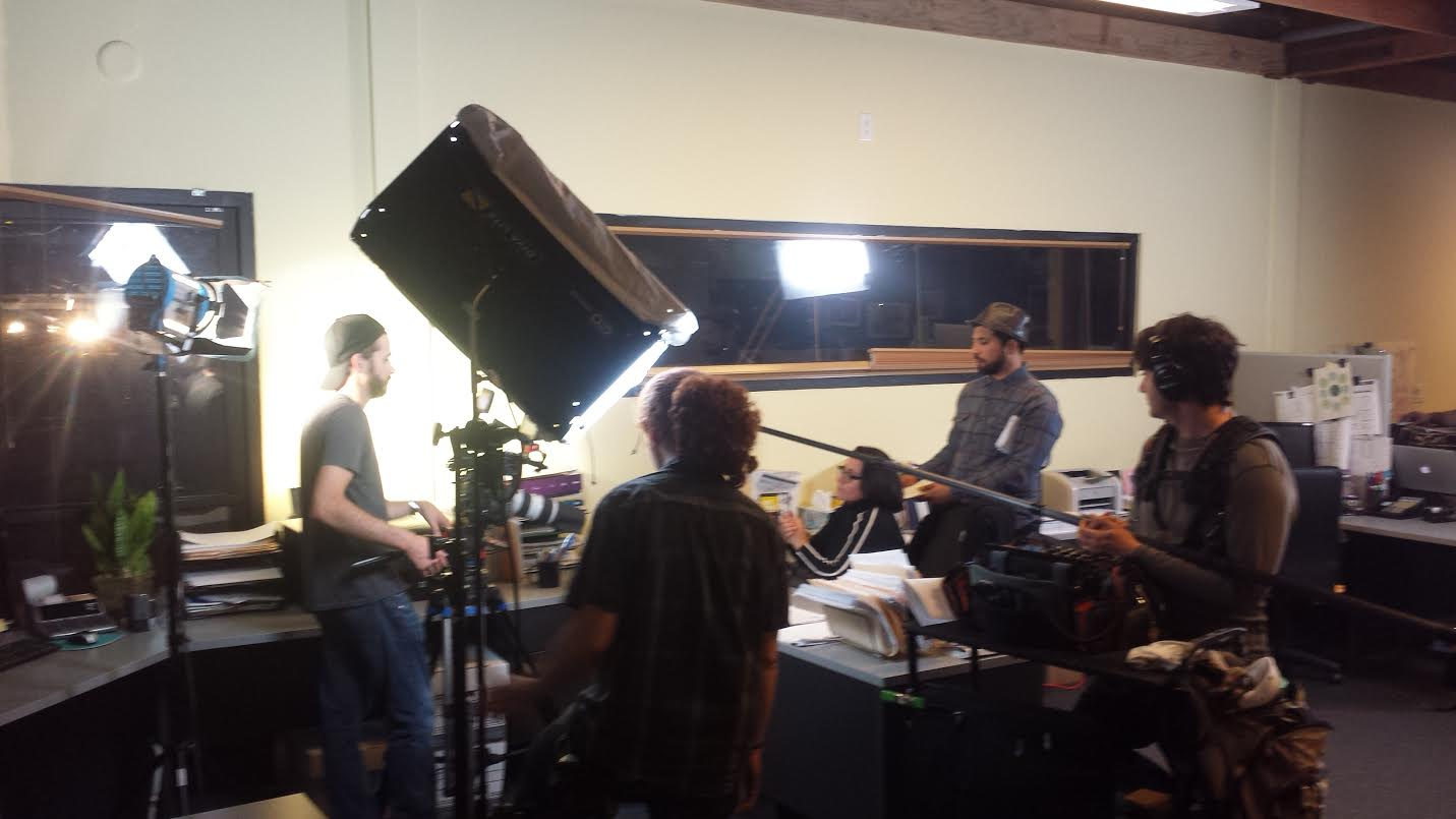 Above, shooting the HB video on set. Right (or below), the explainer video.