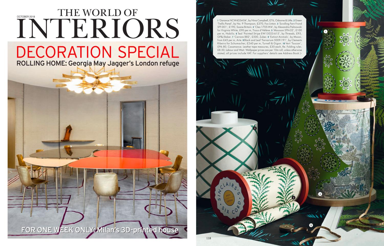 The World of Interiors (UK), October 2018. No.4 Clea Wallpaper in Jungle