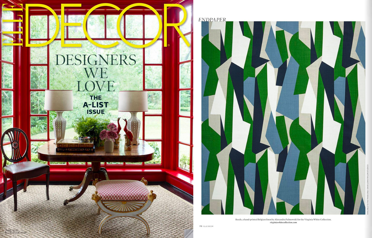 Elle Decor (US), June 2016. Reeds Fabric in Green on Natural