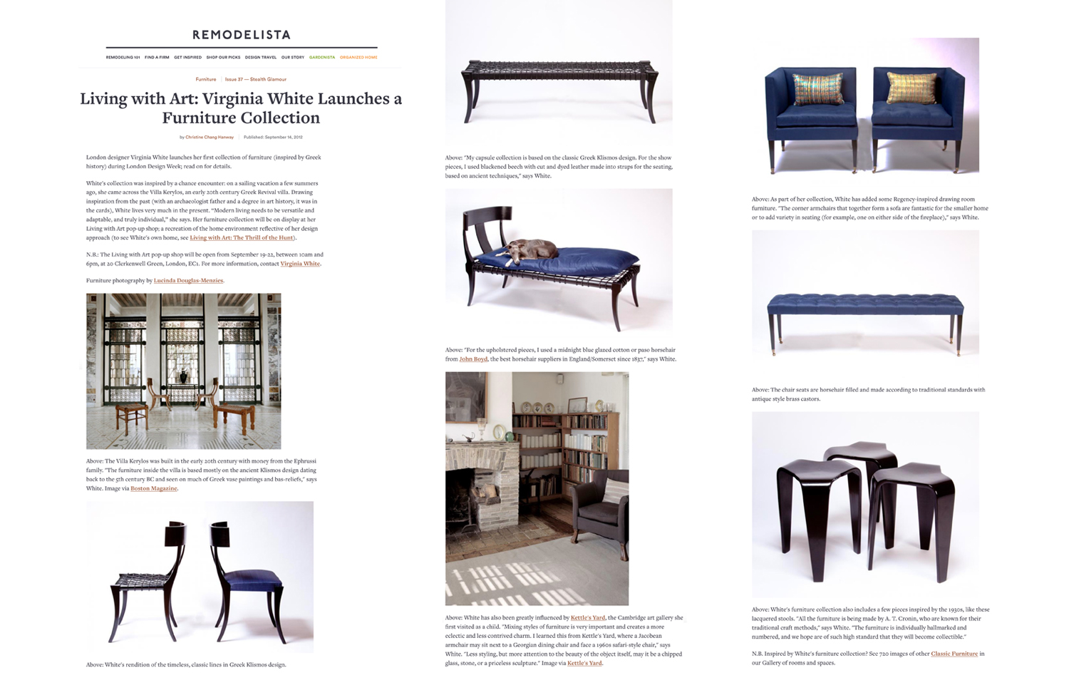 Remodelista    (Online), September 2012. Furniture Collection Launch