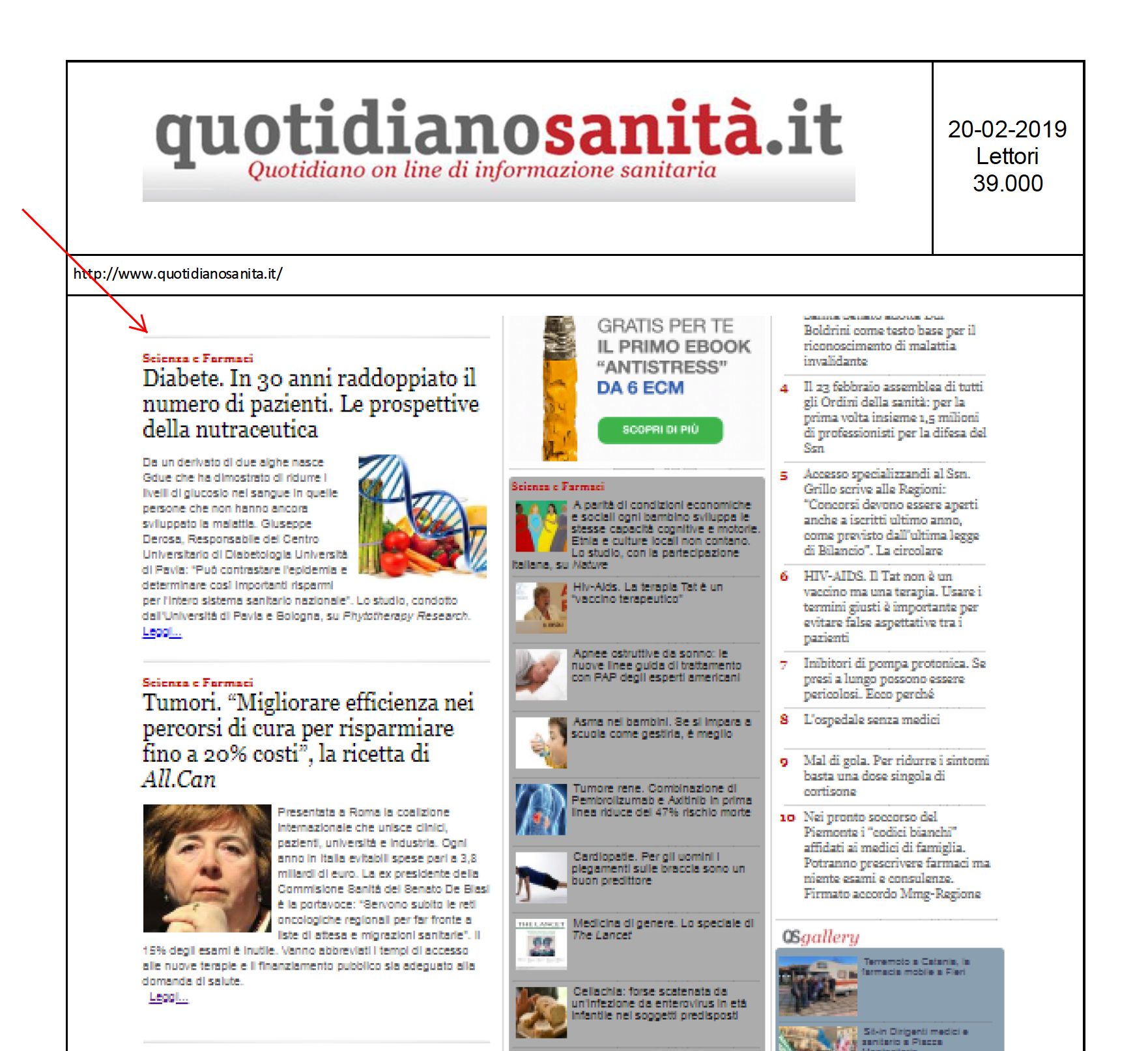 20.02.2019 - QUOTIDIANOSANITA'.IT