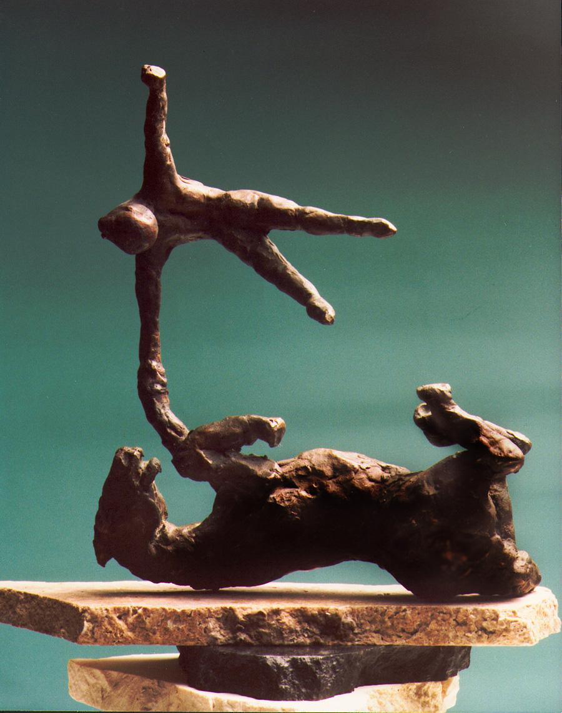 1981  horse and rider l  bronze 23cm high x 8cm deep x 18cm wide