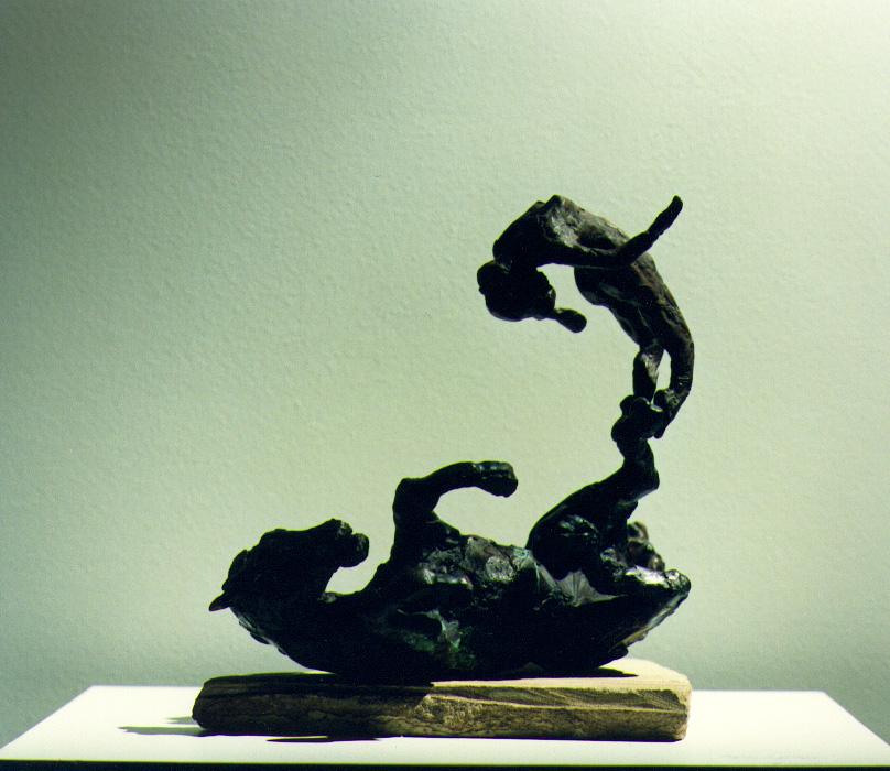 1988  horse and female rider Vl  bronze 18cm high x 10cm deep x 23cm wide