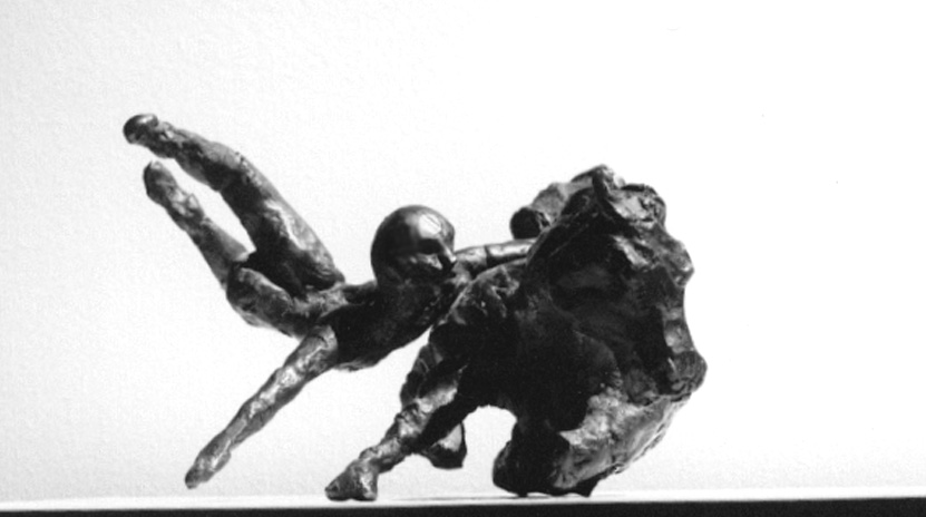 1988  horse and rider Vll  front view bronze 8cm high x 23cm deep x 33cm wide