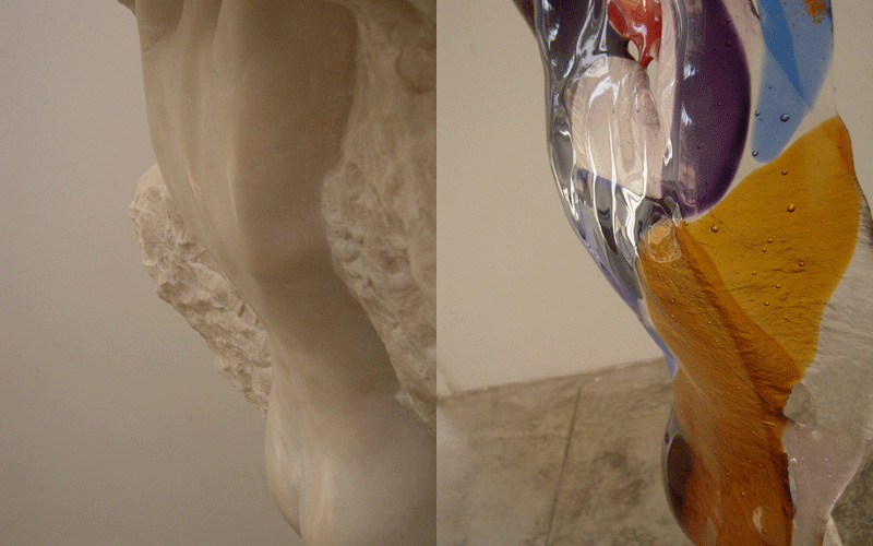 portals II and III detail of marble and glass sections  Third part in progress will be multi media, marble bronze glass and audio of book clippings written over 10 years about a journey through the changing face of sexuality in the culture