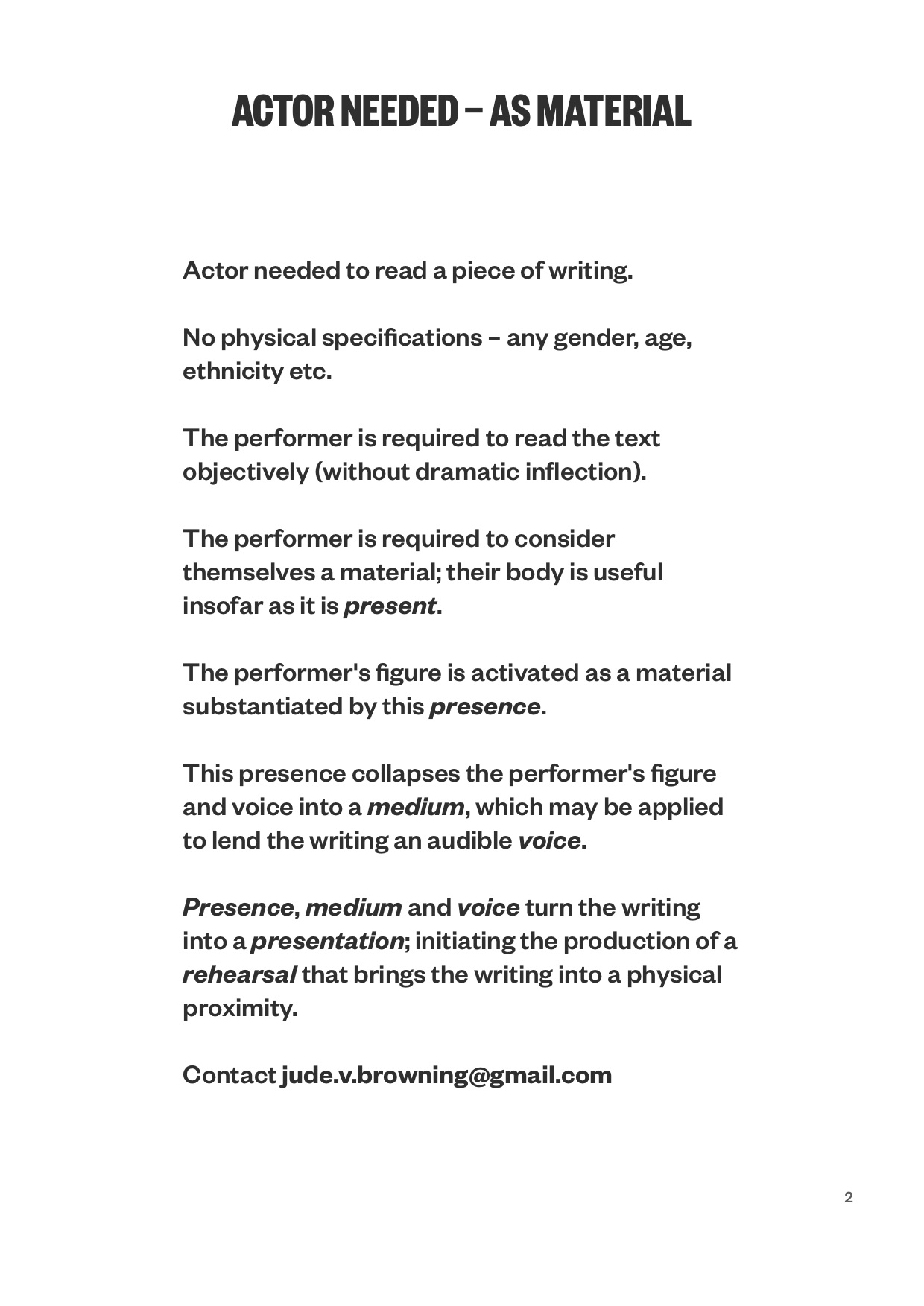Actor Needed - As Material (2014)