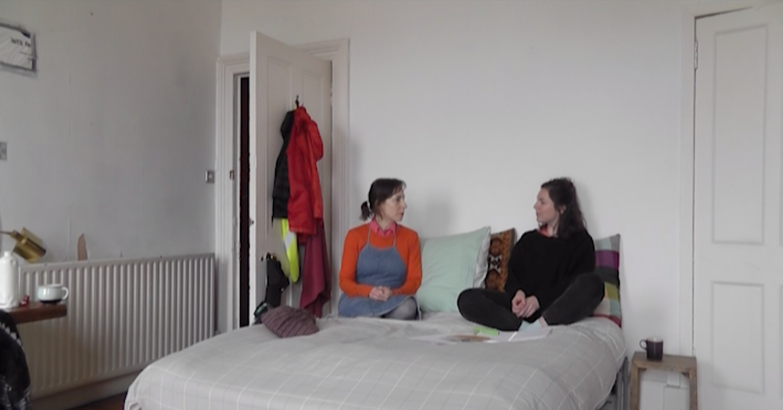 Jude Browning talks to Anne-Marie Copestake in bed