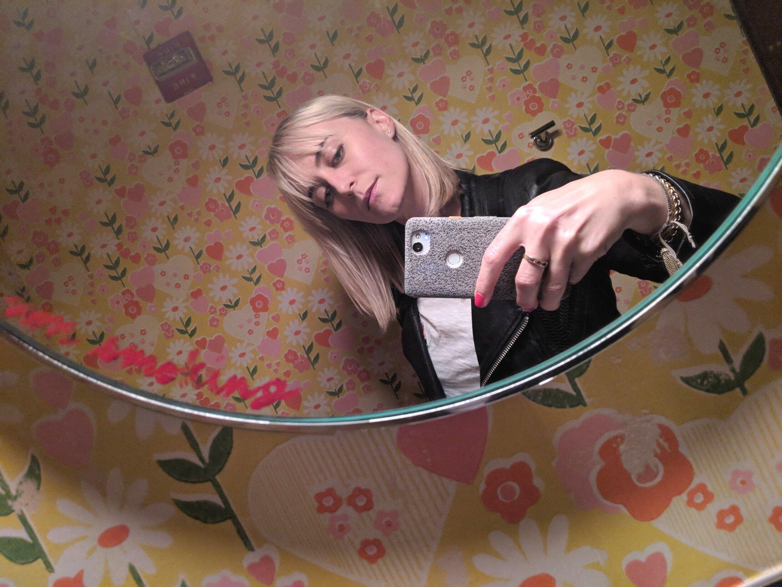 A fabulous bathroom with fabulous wallpaper, somewhere fabulous.