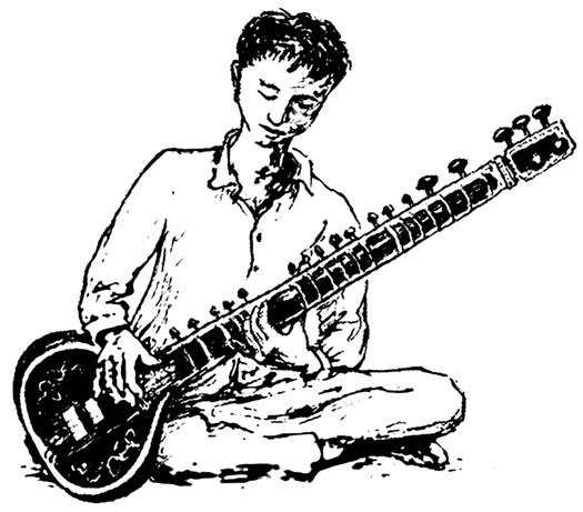 Boy with Sitar illustration
