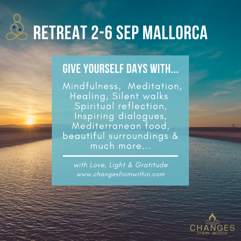 Retrea - Give yourself time… - Welcome to a retreat with us in lovely Mallorca in September next year. In magical surroundings we will spend days giving us time understanding ourselves on a deeper level, getting tools to continue the work when you get home.More info to follow…