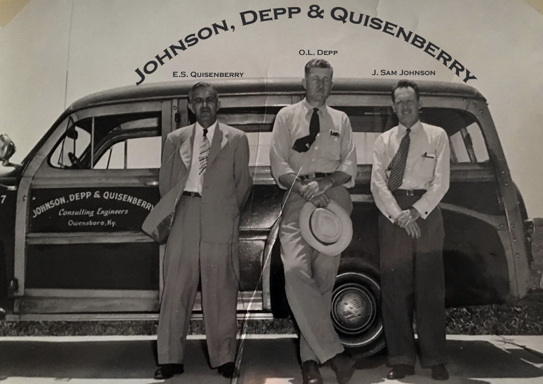 The Founders of Johnson, Depp & Quisenberry. This photo was taken at the opening of the Owensboro-Daviess County Airport. Johnson, Depp & Quisenberry engineered the airport.